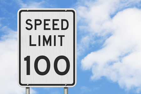 US 100 mph Speed Limit sign isolated with sky background