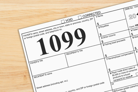A US Federal tax 1099 income tax form on a desk