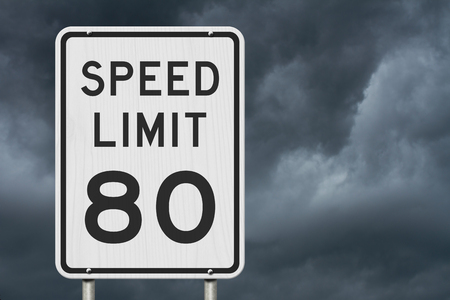 US 80 mph Speed Limit sign isolated with stormy sky background