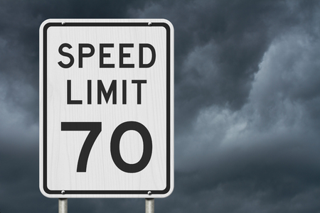 US 70 mph Speed Limit sign isolated with stormy sky