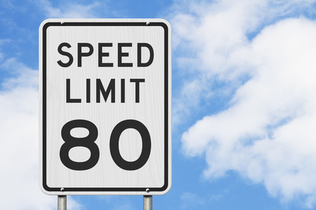 US 80 mph Speed Limit sign isolated with sky Stock Photo - 117613906