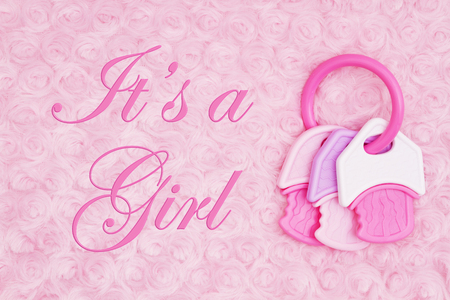 Its a Girl message with a pink and white teething ring on pale pink rose plush fabric