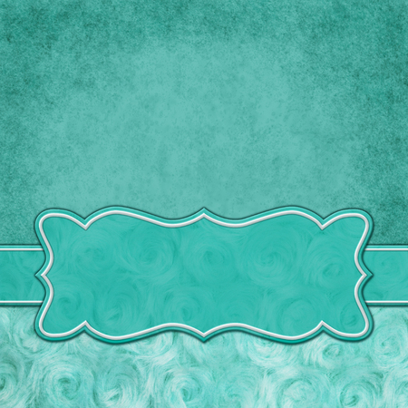 Teal with square border with rose plush fabric with copy space for your message and a banner