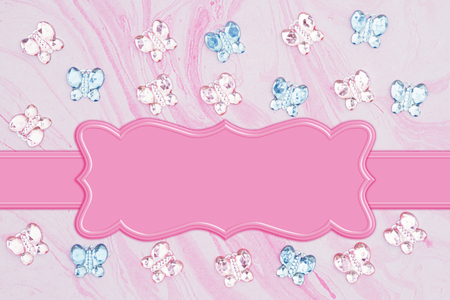 Pink and blue glass butterflies with flowers on pink watercolor paper background with banner to use for copy space Stock Photo