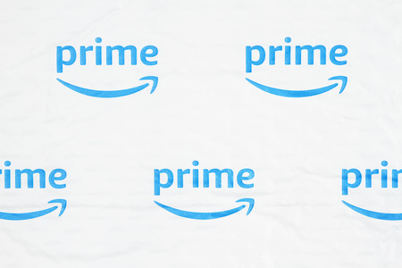 South Carolina, USA March 2019. Illustrative editorial image of the Amazon Prime log on a white plastic bubble envelop