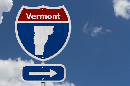 Road trip to Vermont, Red, white and blue interstate highway road sign with word Vermont and map of Vermont with sky background
