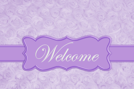 Welcome message on a pale purple rose plush fabric with ribbon and banner Stock fotó