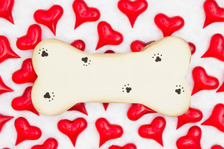 Wood dog bone with paw print with red hearts on white fabric background with copy space for your message Foto de archivo