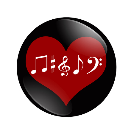 I Love Music button, A black and red  button with music note symbols isolated on a white background Stock fotó