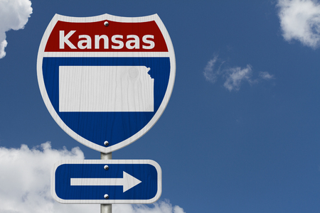 Road trip to Kansas, Red, white and blue interstate highway road sign with word Kansas and map of Kansas with sky background