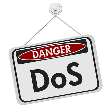 Denial of service danger sign, A white danger hanging sign with text DoS isolated over white 스톡 콘텐츠