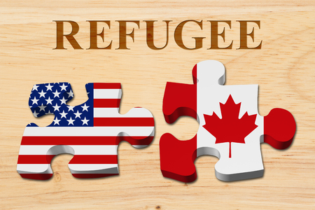 Immigrating from the USA to Canada, Two puzzle pieces with the flags of USA and Canada on wood with text Refugee