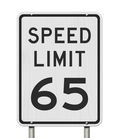 US 65 mph Speed Limit sign isolated over white