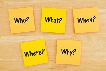 Die 5 Ws wer, was, wann, wo, warum, wie Frage auf sechs Haftnotizen auf strukturiertem Schreibtischholz