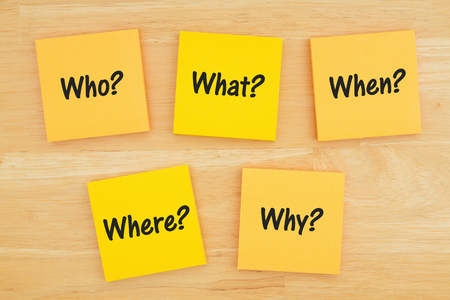 The 5 Ws who, what, when, where, why, how question on six sticky notes on textured desk wood