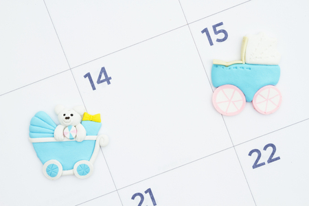 Monthly calendar with blue baby strollers with copy space for your baby due dates or message