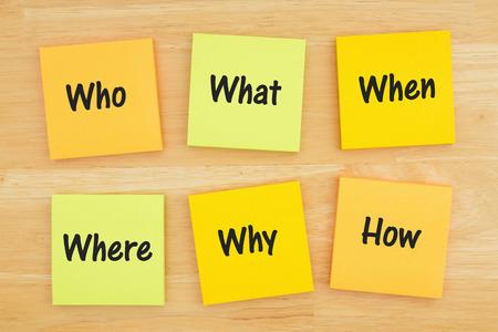 Die 6 Ws wer, was, wann, wo, warum, wie Frage auf sechs Haftnotizen auf strukturiertem Schreibtischholz