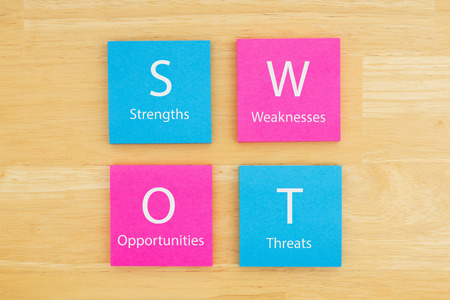 SWOT Strengths, Weakness, Opportunities, Threats on sticky notes on textured desk wood Foto de archivo - 120727927