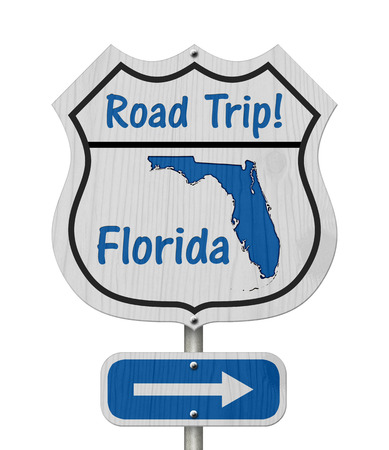 Florida Road Trip Highway Sign, Florida map and text Road Trip on a highway sign isolated over white