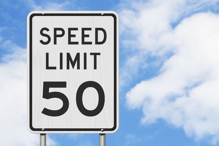 US 50 mph Speed Limit sign isolated with sky background