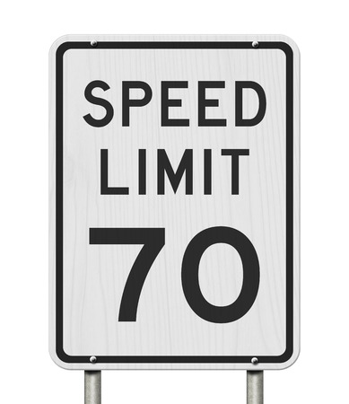 US 70 mph Speed Limit sign isolated over white Stock Photo - 121368227