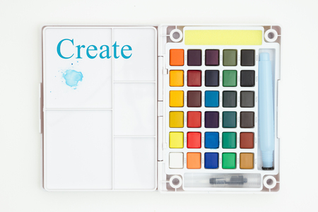 Create message with colorful watercolor paint set with brush isolated on white Stok Fotoğraf