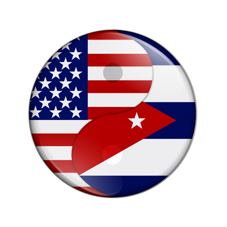 USA and Cuba working together, The US flag and Cuban flag on a yin yang symbol isolated over white Reklamní fotografie