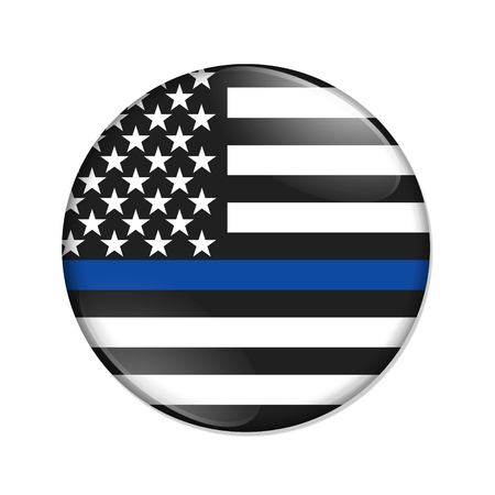 American thin blue line badge button isolated over white