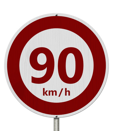 Red and white 90 km speed limit European style sign isolated over white Stock Photo