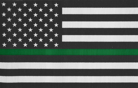 American thin green line flag for your support of border patrol and other federal agents