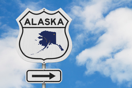 Alaska map and state flag on a USA highway road sign with sky