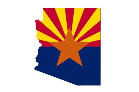 Mappa dell'Arizona nei colori della bandiera dell'Arizona isolati su bianco