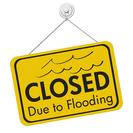 Closed Due to Flooding sign isolated over white Imagens