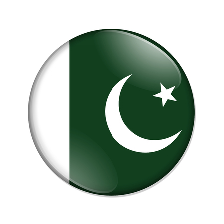 Pakistan country on a flag badge button isolated over white