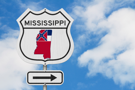 Mississippi map and state flag on a USA highway road sign with sky background