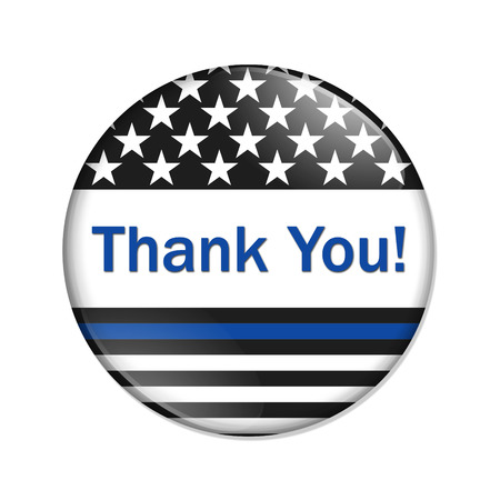 Thank you message on an American thin blue line badge button isolated over white