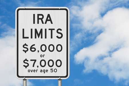 Retirement IRA contributions limits on a USA highway speed road sign with sky