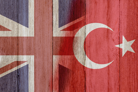 Relationship between the Britain and Turkey, The flags of Britain and Turkey merged on weathered wood