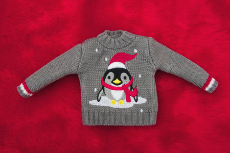 Gray Holiday Penguin Christmas Sweater on Red Plush Fur