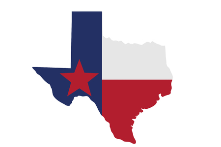 Map of Texas in the Texas flag colors isolated over white Stock Photo