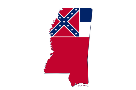 Map of Mississippi in the Mississippi flag colors isolated over white