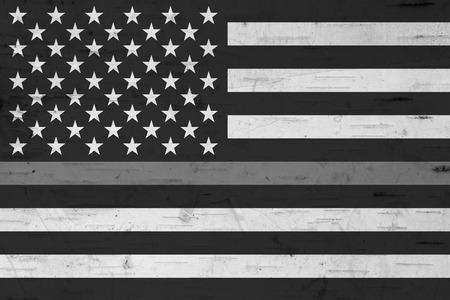 Amerikanische Flagge mit dünner grauer Linie für Ihre Unterstützung von Justizvollzugsbeamten Standard-Bild