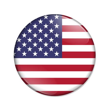 País de Estados Unidos en un botón de insignia de bandera aislado sobre blanco Foto de archivo