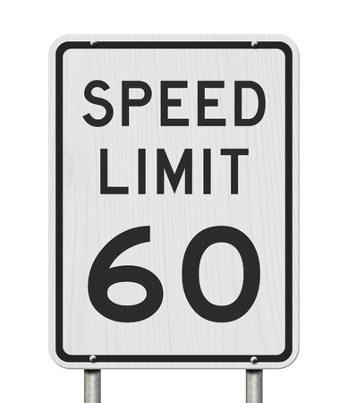 US 60 mph Speed Limit sign isolated over white