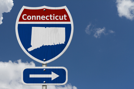 Road trip to Connecticut, Red, white and blue interstate highway road sign with word Connecticut and map of Connecticut with sky background