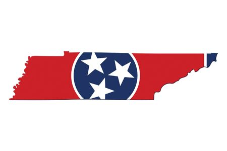 Map of Tennessee in the Tennessee flag colors isolated over white