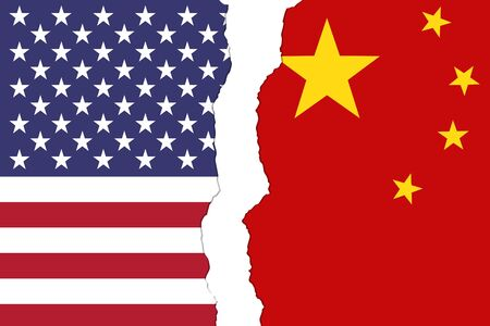 American and Chinese flags that are torn apart showing the bad relationship between the two countries 写真素材 - 125111658