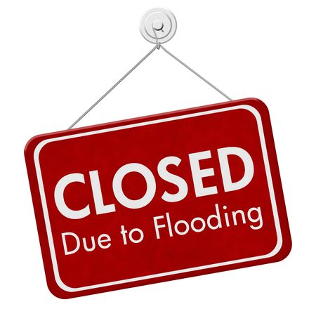 Closed Due to Flooding sign isolated over white Banco de Imagens