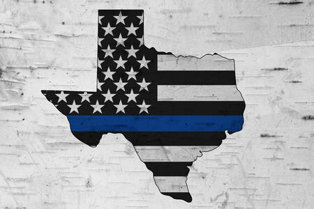 American thin blue line flag on map of Texas for your support of police officers 免版税图像