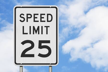 US 25 mph Speed Limit sign isolated with sky background